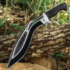 M48 Tactical Kukri Knife And Combat Toothpick Knife Set With Sheaths - Cast Stainless Steel Blades, TPR Handles