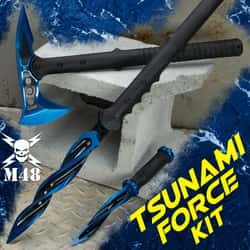 M48 Tsunami Force Kit - Spear, Boot Knife, Tomahawk Axe, Cast Stainless Steel Blades, Includes Sheaths