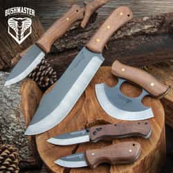 Bushmaster Collectors Kit - Includes A Variety of Bushcrafting Knives With Sheaths And A Pocket Knife