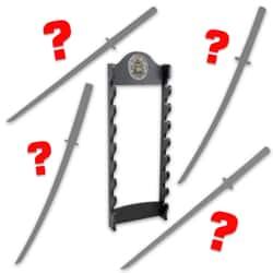Katana Sword Collector Starter Kit - Includes Wall Display And Four Katanas With Scabbards