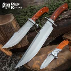 Woodsman's Knife Set - Includes Bowie Knives With Sheaths And A Pocket Knife