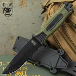 """SOA Olive Drab Tactical Fixed Blade Knife And Sheath - Stainless Steel Blade, TPR Handle, Glassbreaker - Length 9 1/2"""""""
