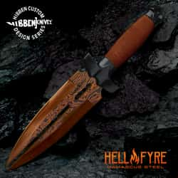 Hibben HellFyre Double Shadow Knife With Sheath - Damascus Steel Blade, Wire-Wrapped Handle, Stainless Steel Guard