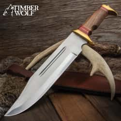 """Timber Wolf Canberra Bowie Knife And Sheath - Stainless Steel Blade, Wooden Handle, Brass Pommel And Guard - Length 17"""""""