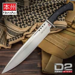"Honshu D2 Boshin Toothpick And Sheath - D2 Tool Steel Blade, Contoured TPR Handle, Lanyard Hole - Length 18 3/4"""
