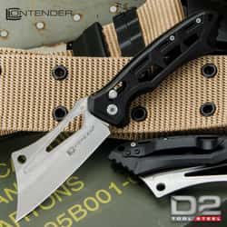 """Contender Cleaver D2 Pocket Knife - D2 Tool Steel Blade, Stainless Steel Handle, Ball-Bearing Opening - Closed 4 1/2"""""""