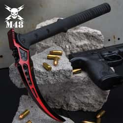 """M48 Red Tactical Kama And Sheath - Cast Stainless Steel Head, Fiberglass Reinforced Nylon Handle - Length 15 1/2"""""""