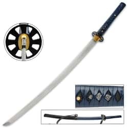"""Blue Zombie Slayer Katana And Scabbard - High Carbon Steel Blade, Faux Leather-Wrapped Handle, Brass Habaki - Length 39 1/2"""""""