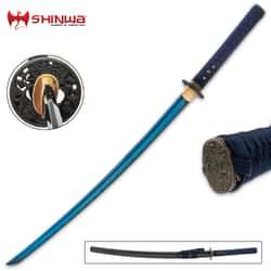 "Shinwa Blue Majesty Samurai Sword And Scabbard - 1060 High Carbon Steel Blade, Genuine Rayskin, Hardwood Handle - Length 39"""