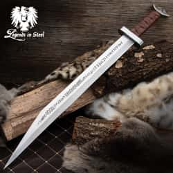 """Legends In Steel Viking Seax Sword And Scabbard - One-Piece Carbon Steel Construction, Leather-Wrapped Handle - Length 30"""""""