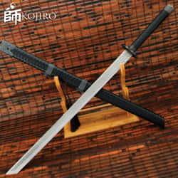 "Blade Brotherhood Katana And Scabbard - High-Quality Manganese Steel Blade, Wooden Handle, PU Grip, Metal Alloy Fittings - Length 44"""