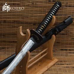 "Kojiro Ebony Katana And Scabbard - 1045 Carbon Steel Blade, Cord-Wrapped Handle, Metal Tsuba - Length 41"""