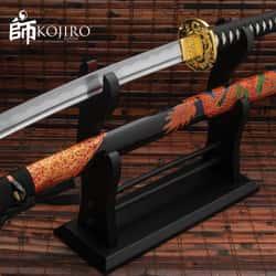 "Kojiro Fire Dragon Katana And Scabbard - 1045 Carbon Steel Blade, Cord-Wrapped Handle, Metal Tsuba - Length 41"""