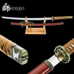 "Kojiro Earth Warrior Katana And Scabbard - Manganese Steel Blade, Cord-Wrapped Hardwood Handle - Length 40 1/2"""