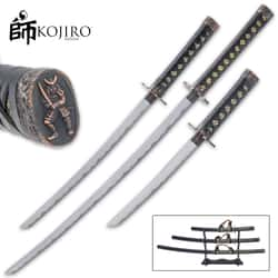 Kojiro Night Watch Three-Piece Sword Set And Display Stand - Carbon Steel Blade, Hardwood Handle, Faux Ray Skin, Metal Alloy Fittings