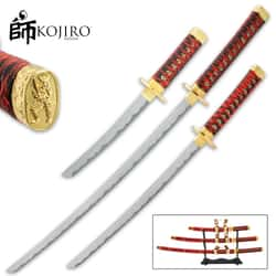 Kojiro Imperial Red Daisho Sword Set And Stand - Carbon Steel Blades, Wooden Handles, Faux Rayskin, Includes Scabbards