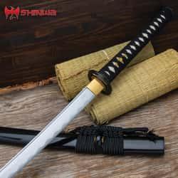 "Shinwa Miyamoto Katana And Scabbard - 1045 Carbon Steel Blade, Hardwood Handle, Genuine Rayskin - Length 41 7/10"""