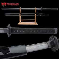 "Shinwa Black Knight Katana And Scabbard - Handmade Damascus Steel Blade, Hardwood Handle, Cast Tsuba - Length 40"""