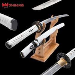 "Shinwa Air Warrior Katana And Scabbard - Damascus Steel Blade, Hardwood Handle, Copper Tsuba - Length 41 1/2"""