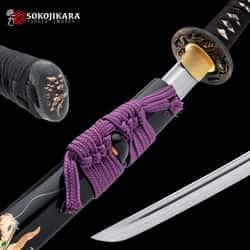 "Sokojikara Emerald Dragon Katana And Scabbard - Hand-Forged 1060 Carbon Steel Blade, Genuine Rayskin, Brass Tsuba - Length 40"""