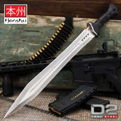 """Honshu D2 Gladiator Sword And Sheath - D2 Tool Steel Blade, Injection-Molded TPR Handle, Brass Lanyard Hole - Length 25"""""""