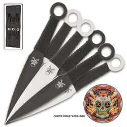 Day Of The Dead Throwing Knife Set - Six Pieces, AUS-6 Stainless Steel Construction Cord-Wrapped Handles