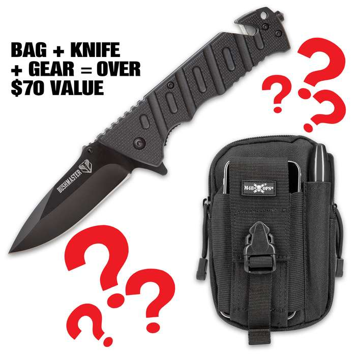 The EDC Survival Mystery Kit is an incredible deal on essential EDC survival tools including the SHTF Bushmaster Tactical Pocket Knife