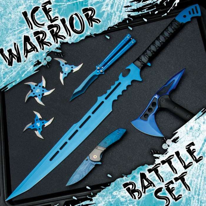 Our Ice Warrior Blue Battle Set is a choice selection of bright blue colored weapons representing different styles of fighting