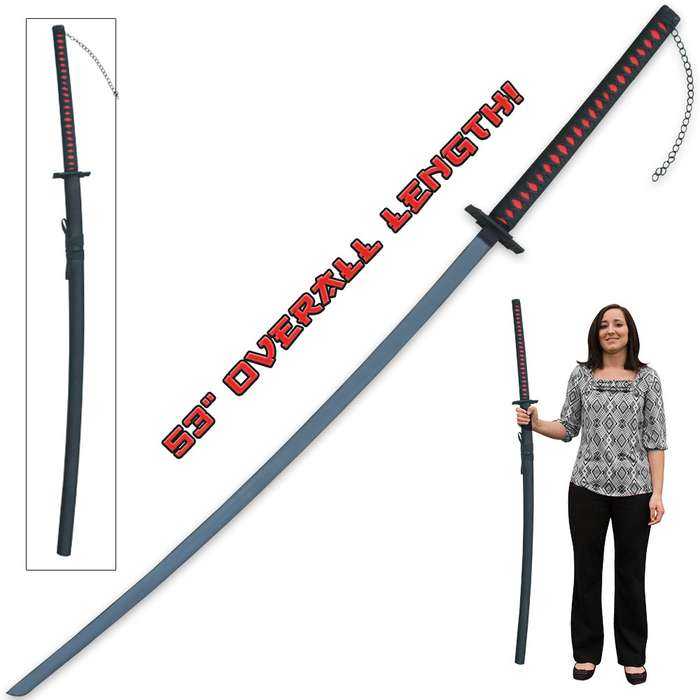"""Huge, Extra Long Fantasy Katana Sword with Chain - Stainless Steel Blade, Nylon-Wrapped Handle, Cast Metal Tsuba - Overall Length 56"""""""