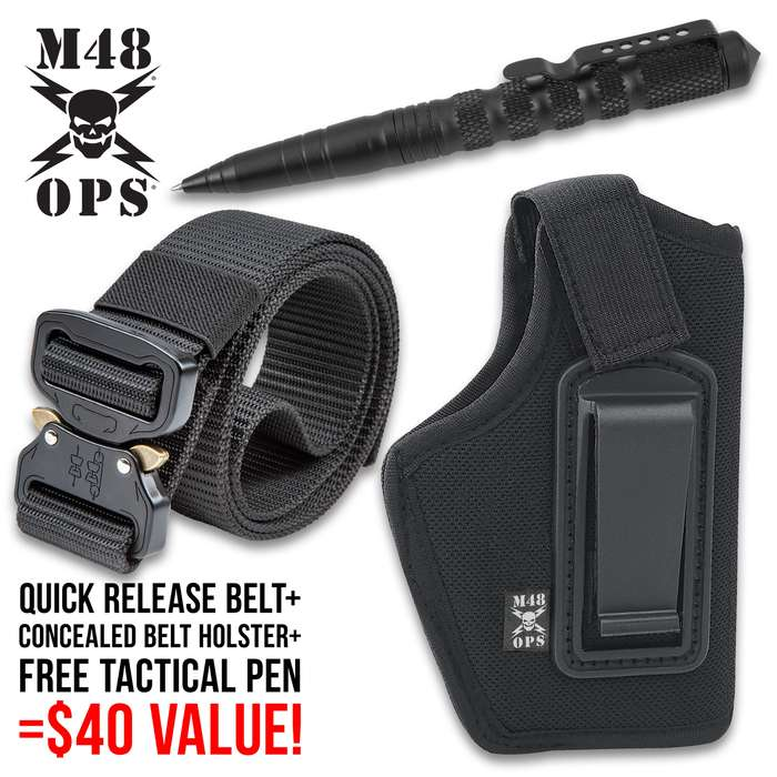 M48 EDC Concealed Carry Kit With Free Tactical Pen - Includes Belt Holster And Rigger's Belt, Heavy-Duty Black Nylon Construction