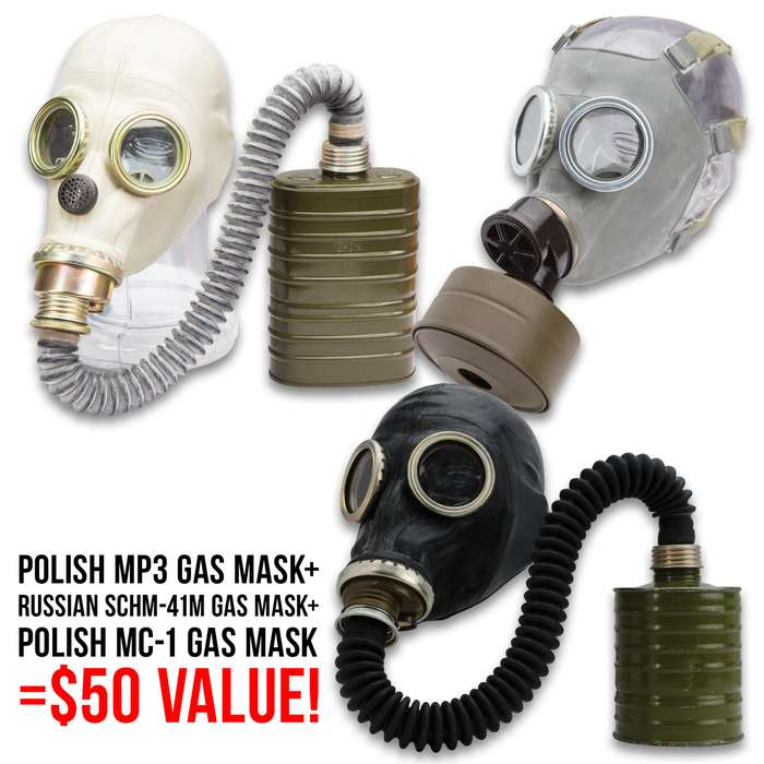 Gas Mask Collector's Kit - Three Gas Masks, Genuine Military Surplus, Transport Bags And Filters Included