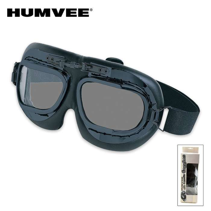 HUMVEE Military Tactical Goggles Black Lens