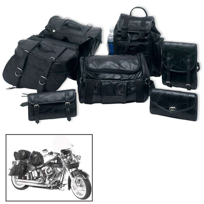 Genuine Buffalo Leather Motorcycle Saddlebags - Seven Pieces