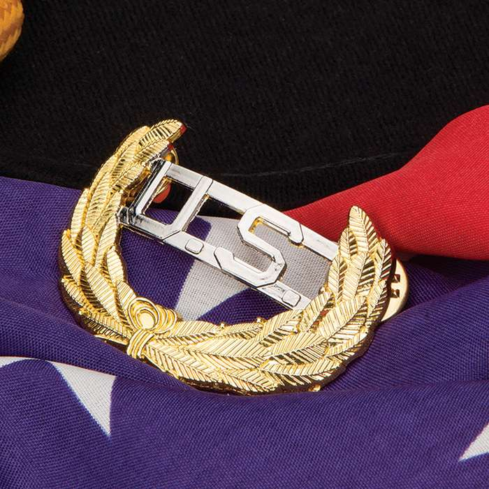 Gold Civil War US Cavalry Union Leaf Hat Pin