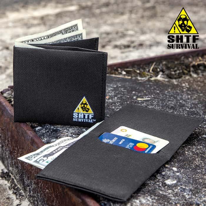 Black SHTF Survival Logo Folding Wallet - Nylon Canvas Construction, Large Bill Pocket, Two Card Compartments