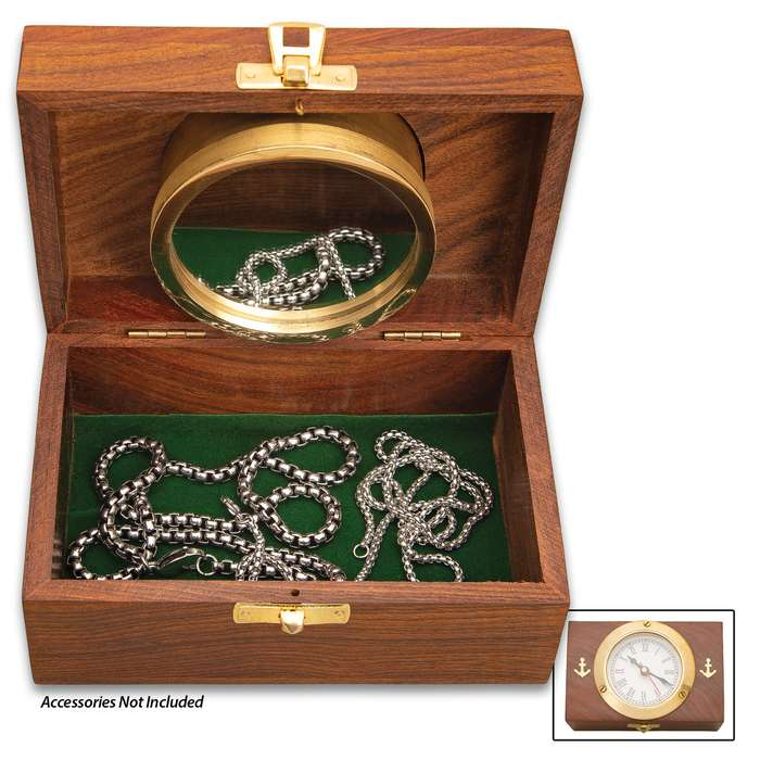 """Wood And Brass Desktop Box Clock - Nautical-Themed, Brass Clock And Fittings, Heartwood Box - Dimensions 5 9/10""""x 3 9/10""""x 2 9/10"""""""