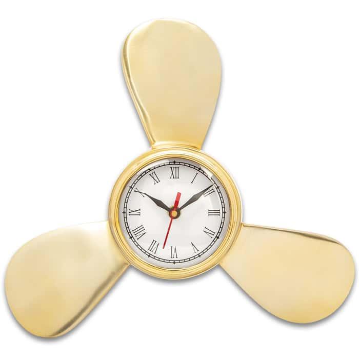 """Ship Propeller Wall Clock - High-Quality Brass Construction, Roman Numerals, Second Hand, Hanger - Diameter 12 1/2"""""""