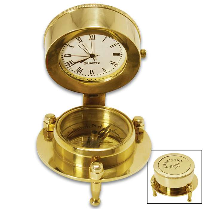 """Antique Replica Desk Compass And Clock With Stand - Solid Brass Construction, High-Polish Finish - Dimensions 1 9/10""""x 2 3/10"""""""