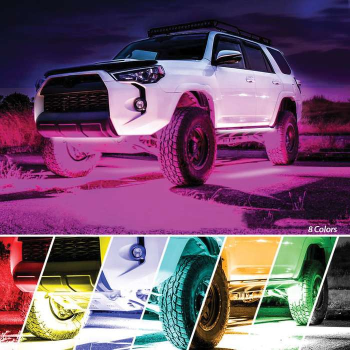 Vehicle Under Glow Lights Kit - Eight-Color LEDs, Four Flexible Strips, Wireless Remote Control, 3M Adhesive Strips, Included Zip Ties