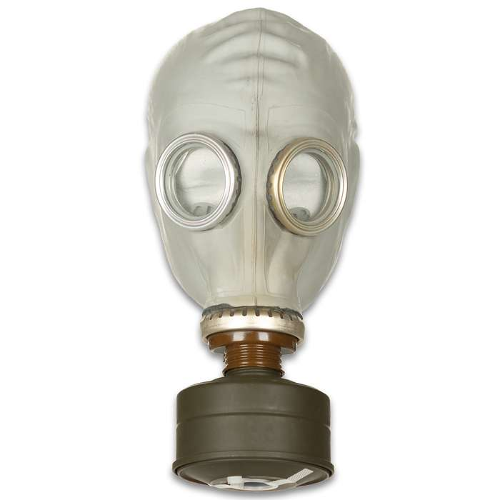 This Russian GP-5 Gas Mask was intended for Cold War civilian use and helps to protect the face, eyes and respiratory system against chemicals and radioactive and biological warfare agents
