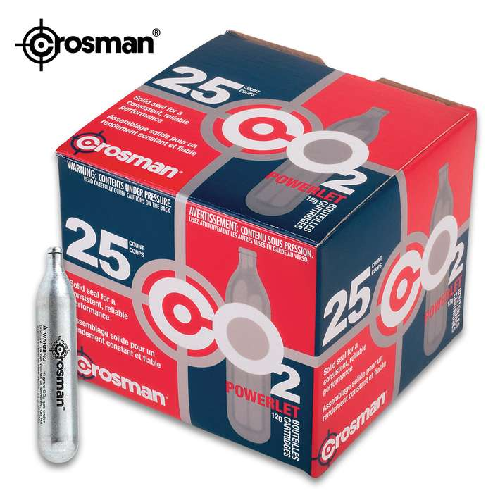 Crosman CO2 Powerlet Cartridges - 25-Count, 12-Gram, Snug Fit, Consistent Performance, Use With Any Standard Air Gun