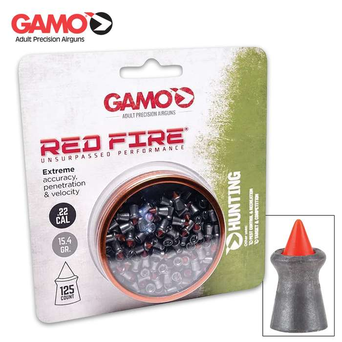 Experience match-grade accuracy, high-velocity performance and hydraulic expansion at point of impact with Gamo's Red Fire Pellets