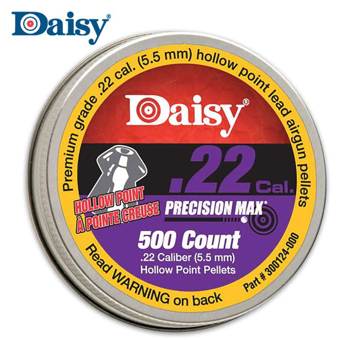 Daisy .22 caliber PrecisionMax Hollow-Point Pellets provide perfect expansion upon impact for plinking and pest control