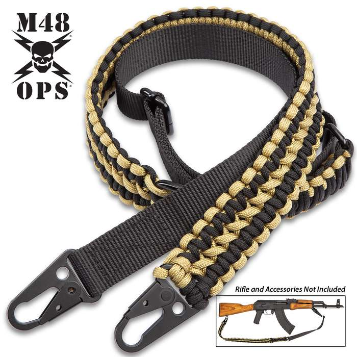 """M48 Paracord Two-Point Gun Sling - 250 LBS Strength, Paracord And Nylon Webbing, Metal Hardware, Adjustable From 41"""" Up To 52"""""""
