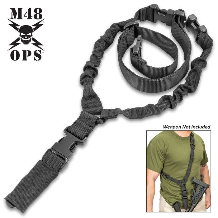 M48 Tactical Gun Sling - Nylon Webbing And Elastic Bungee, ABS Quick-Release Buckles, Metal Clip, Adjustable To Fit
