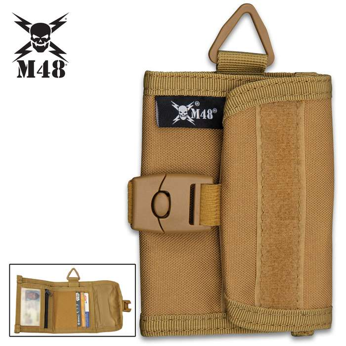 """M48 Khaki Canvas Wallet With Buckle - Sturdy Canvas Construction, ABS Buckle, Several Pockets, Velcro Patch Strips - Dimensions 4""""x 4 3/4"""""""