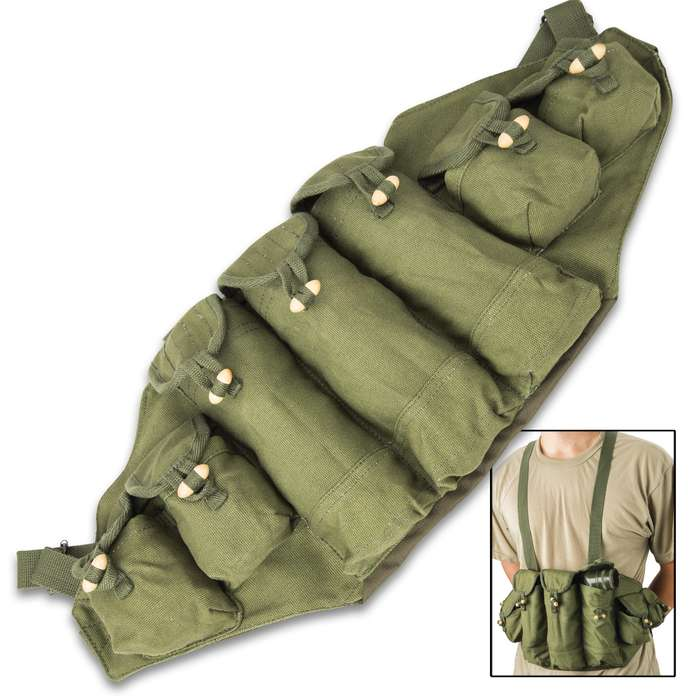 The military surplus, like new condition bandolier makes a great addition to your tactical, hunting or shooting range gear