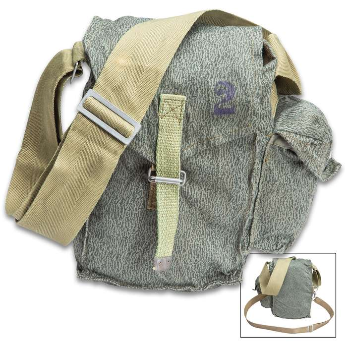 Polish Puma Camo Gas Mask Bag With Strap - Used, Adjustable Shoulder Strap, Top Flap With Canvas Strap