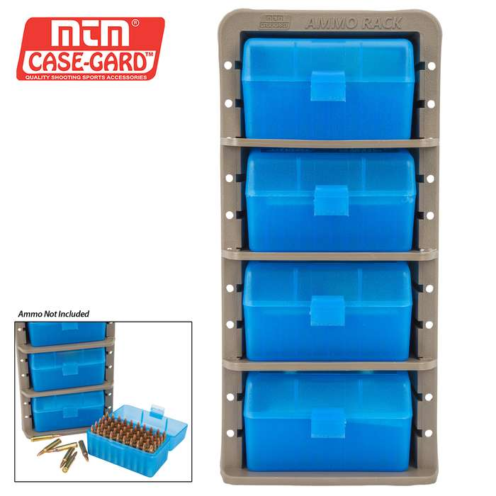 MTM Ammo Rack With Four Ammo Boxes - Rifle Rounds - Adjustable Shelves, Free Standing Or Wall Mount, Flip-Top Boxes