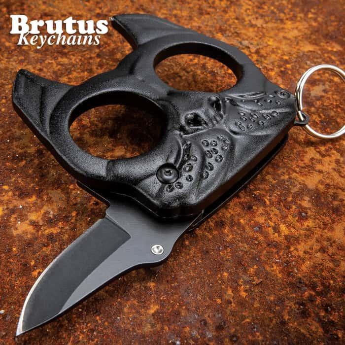 "Brutus The Bulldog Defense Keychain Knife - Solid Steel Construction, Trigger Action Blade, Finger Holes, Keyring - Length 3 1/2"""